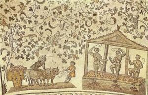 Мозаика свода церкви Санта-Констанца в Риме. Деталь. Сцена виноделия.